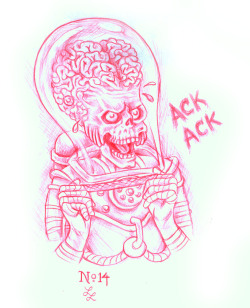 eatsleepdraw:  Heh heh.  No.14 is a Martian from Mars Attacks with his fingers caught in a Chinese finger trap toy. I was giggling to myself while drawing it.  Hey, when you can amuse yourself, the sky's the limit! ^_-  check http://lefty-laura.tumblr.com/ for more of my 365 of 2013 project!