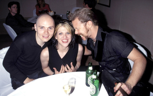 courtney-love-and-hate:  Billy Corgan, Courtney Love and James Hetfield in 1996