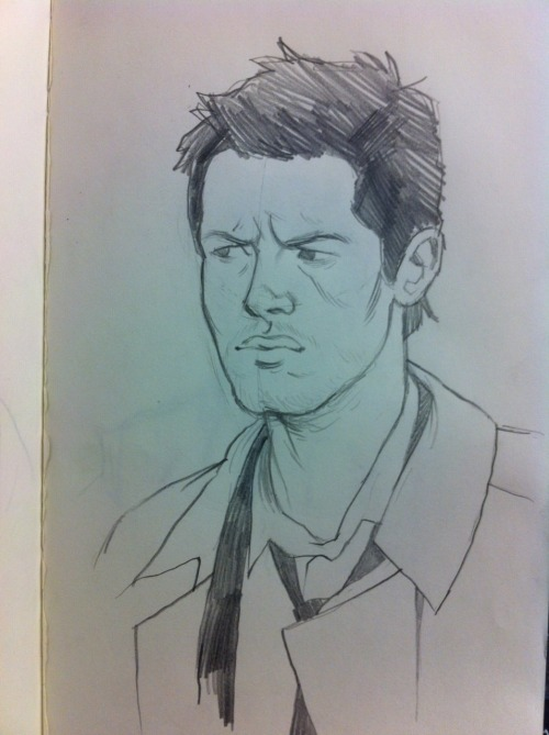 A sketch I did of my homeboy Castiel.