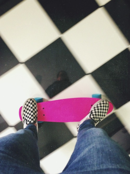 Skating in the kitchen like I own the place.
