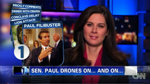 "Rand Paul Forces Obama To Admit He Can Kill Americans With Drones, MSM Mocks Him For Speaking Too Long Yesterday, Senator Rand Paul spoke for nearly 13 hours during his filibuster effort to block a Senate vote on CIA Director nominee, John Brennan. Rand was using his filibuster privilege to force Obama to publicly state whether or not he will (or has the authority to) assassinate American citizens with drones. But instead of taking the filibuster seriously and actually discussing Obama's power to extrajudicially kill American citizens without due process, the MSM, mainly CNN, mocked Rand Paul with corny jokes on their television broadcast and ignored the issue on their websites. In fact, most of the MSM failed to mention the filibuster or the PODUS power to assassinate Americans on their front page. Just a day prior to the filibuster, Attorney General Eric Holder wrote a letter to Rand Paul admitting that Obama can in fact kill American citizens on U.S. soil but ""has no intention to do so"". The debate comes after the NBC release a 16 page ""White Papers"" prepared by the DOJ attempting to justify Obama's power to secretly extrajudicially kill American citizens without due process. Obama has previously assassinated at least three American citizens using drones, including 16 year old Abdulrahman Al-Aulaqi, but it wasn't until recently that the public was told that our president had the power to kill American citizens inside of our borders.  In related new, Rand Paul mentioned drones more times than Congress has in history, just after the first seven hours the filibuster."