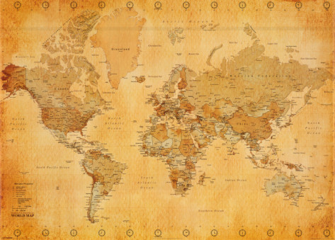 vintage world map. where in the world would you like to visit and when in the past?