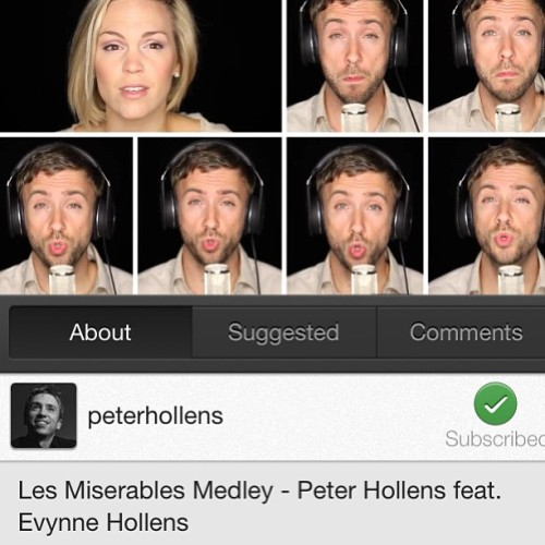 Have you seen the new les Mis Medley yet?? video is up!!! www.youtube.com/peterhollens. <——-
