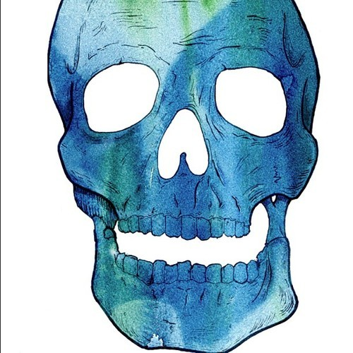 Trying to combine my drawings with my limited Photoshop skills ;) #skull #watercolor #photoshop