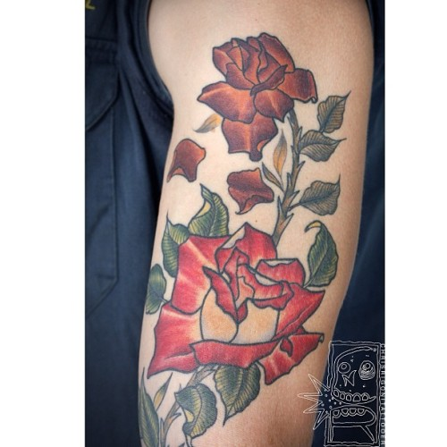 Got some healed photos of Brads Birth to Death roses to day too. #tattoo #rose #chrisrigoni