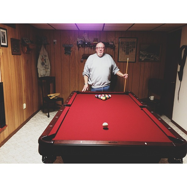My dad and his new pool table. First game starts now!! #vscocam
