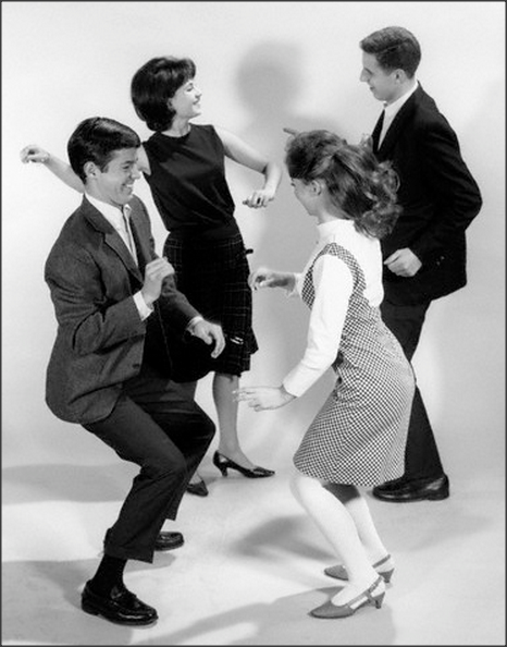 Teens, 1960s Teen couples dancing the twist