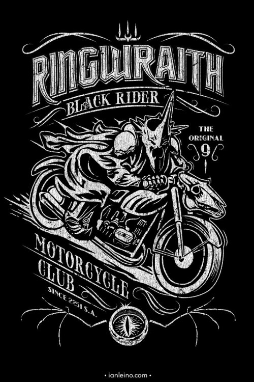 """Black Rider Motorcycle Club"". Printed with waterbased discharge inks on American Apparel Tri-Blend shirts for an ultra soft, vintage feel. Available only in the artist's shop More from Ian Leino: May the Fez be with You 