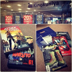 harakeeri:  Free Comic Book Day at Kinokuniya Sydney! Aside from free comic books, got 20% discounts on mangas too!#kinokuniya #freecomicbookday #shingekinokyojin #attackontitan #naruto #batman #batman&robin #wolverine #comics #nerdlyf #amazing #may4th #epic
