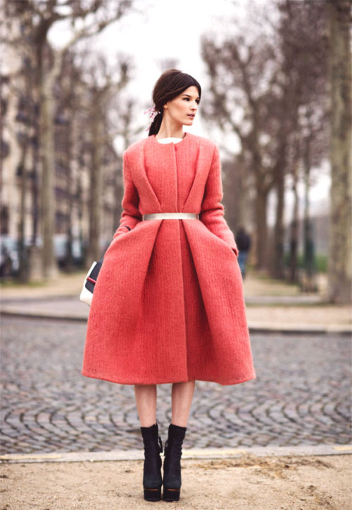 Loving this inspiration from This Is Glamorous. That full skirted strawberry-colored coat is a DREAM!  <3 Amy, ModStylist Need styling suggestions, trend tips, or dress details? Ask a ModStylist and your question might be featured on our feed!