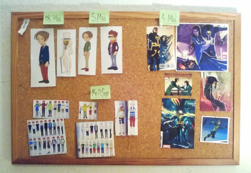 Just hung up some cosplay references on the wall over the sewing table.I'm so looking forward to Chala's and my cosplay plans for this year *v*! And we're also going to have Angela (both teenage and adult) and young Hershel and all of the four Tsuritama guys :>. (No, of course we're not doing every version of Haru and Yuki, we just couldn't decide on a version yet).