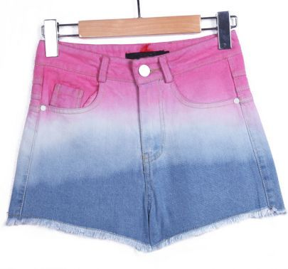 myshopping-bag:  Rose Red Blue Button Fly Pockets Fringe Shorts