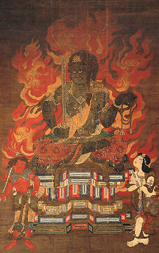 centuriespast:  Fudo Myo-o (Achala Vidyaraja) with Two Attendants Japan; Kamakura period (1185-1333), early 14th century The Asia Society