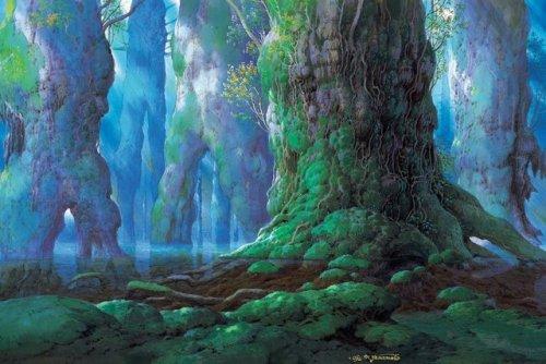 princess mononoke hayao miyazaki art forest fantasy art fantasy fantasy world blue green elven forest fairy tale Magic magical enchanted