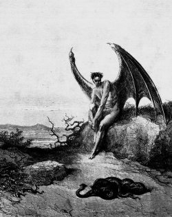 """Lucifer contemplates a Serpent"" - Gustave Dore {illustration for John Milton's Paradise Lost} {ca.1870}"