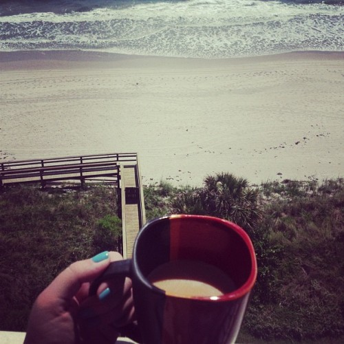 Carmel coffee and a pretty view
