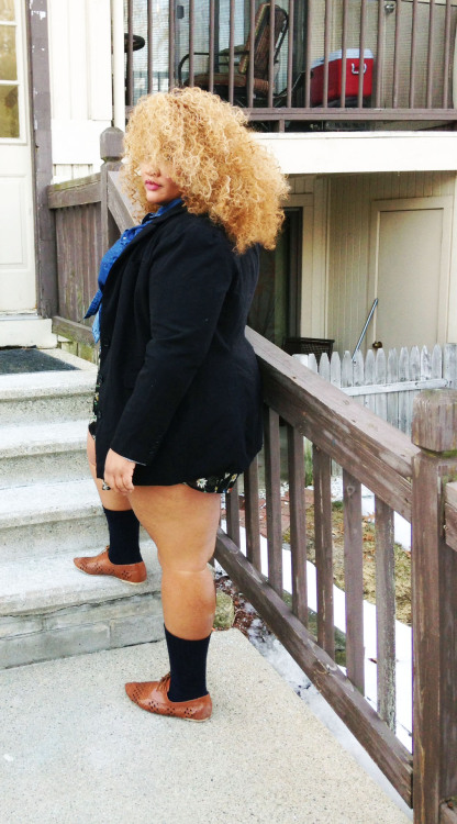 fat black hermione.  dress/asos curve chambray shirt/torrid shoes/torrid blazer/torrid hair