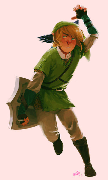 Link Legend of Zelda illustrated by Qiow :: via society6.com