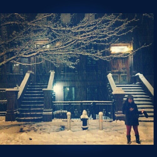 Lil Nemo and I having a grand night in the snow!  #blizzard  (at Uptown Harlem)