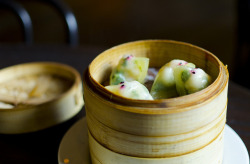 Chinatown Brasserie - Shrimp & Snow Pea Leaf Dumplings by Cheeryvisage on Flickr.