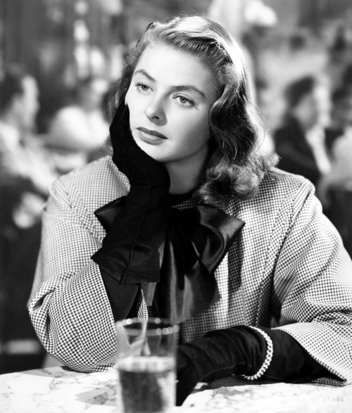 Ingrid Bergman wearing a suit by Edith Head in Notorious (Alfred Hitchcock, 1946) via cinnamongirls