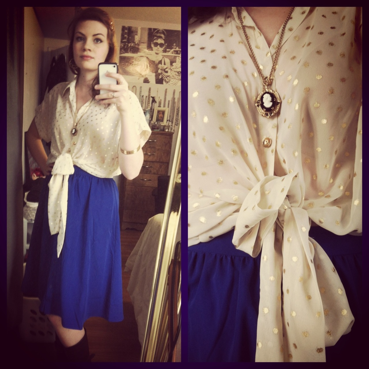 shelvestostreets:  Outfit inspired by Elizabeth (Bioshock Infinite) I wanted to replicate the vintage style of the game through a longer cut skirt. The shirt is reminiscent of Elizabeth's first outfit with the front tie. I also chose a cameo necklace to add more of a vintage splash and bird earrings as a nod to Song Bird.  Skirt: Forever 21, Top: Marshalls, Necklace: Vintage Stone, Earrings: Lucky Brand, Bracelets: Forever 21 Style Advice: When wearing a front tie top, be sure to tie up the top before you button it. The buttons secure the tie from coming undone and keep it positioned nicely.   Since there's no new outfit today (I apologize - I'm super swamped with my last exam coming up on Wednesday), I thought I'd still give you a gaming inspired outfit! This one is inspired by Elizabeth from Bioshock Infinite and put together by me in real life! I'm starting to do more and more inspired outfits in my daily attire and figured I'd share the best ones on here periodically.