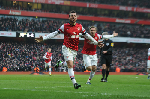 LONDON, ENGLAND - FEBRUARY 23: Santi Cazorla celebrates scoring the 2nd Arsenal goal during the Barclays Premier League match between Arsenal and Aston Villa at Emirates Stadium on February 23, 2013 in London, England. (Photo by Stuart MacFarlane/Arsenal FC via Getty Images)