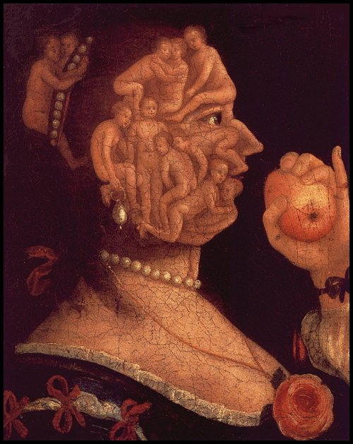 mythologyofblue:  Giuseppe Arcimboldo, Portrait of Eve, oil on canvas, 1578, private collection. (via appendixjournal)  Presented without comment.