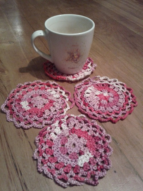 Four little crochet coasters I made in one afternoon