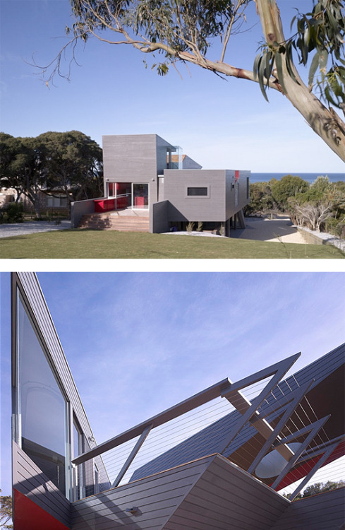"K House is an impressive project created by Australian firm Ashton Raggatt McDougall. The house was named after the first letter of the owners' last name. ""The shape of the house and some items inside the home took the shape of the letter ""K"". The facade is made with simple materials gray interiors look brighter, thanks to the large amount of painted surfaces with a cherry-red color."" The K House by ARM Architecture"
