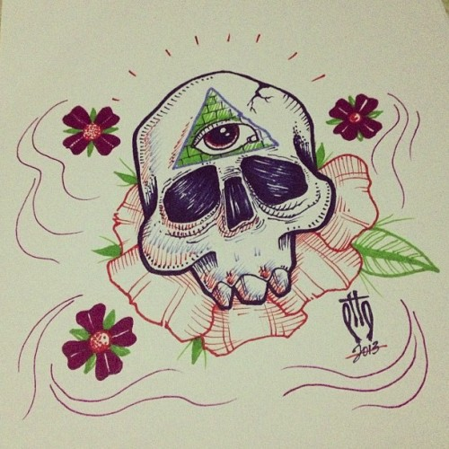 #sketch #sharpie #skull #design #flowers #eye #arttattoo #art #flashtattoo #tattoo