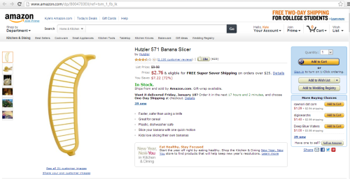 i-would-walk-500-kyles:  OH.MY.GODD. GO READ THE REVIEWS TO THE BANANA SLICER! xD  HAHAHA. REALLY, THOUGH!READ!
