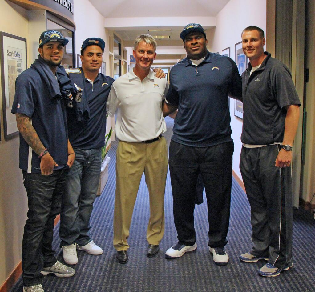Mike McCoy, Philip Rivers with draft picks Keenan Allen, Manti Te'o and D.J. Fluker.