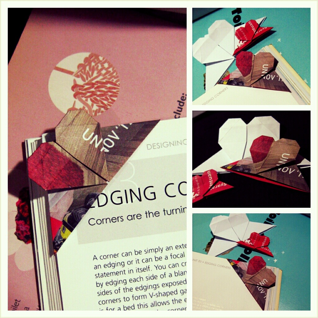 Origami Heart Bookmarks
