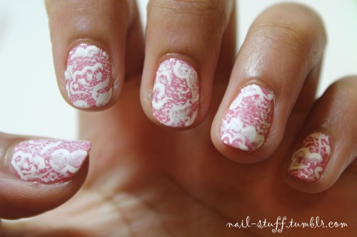 Lace nails! Okay, these didn't turn out how I thought they would at all! But they still resemble lace a little bit right? :) For the background I used Fun in the Gondola by Essie