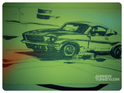 1968 Ford Mustang 390 GT Fastback from BULLITT.  BULLITT sketch week is over. Peace out till next week…