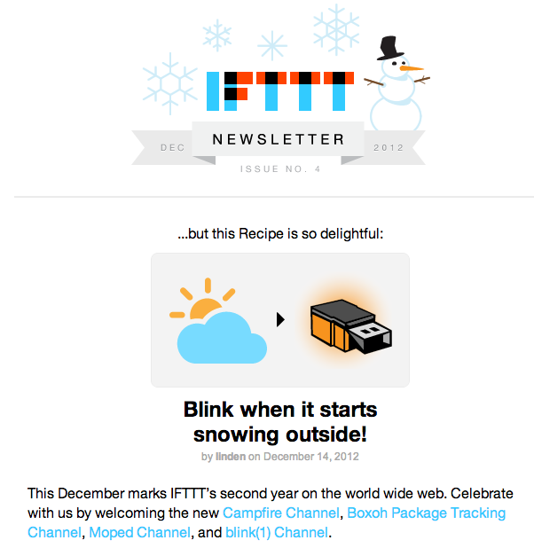 I have such a nerd boner for IFTTT and I'm pretty sure all of Twitter knows it. holiday pitches are THE WORST (because I myself have to send them too) but damnit if this isn't a catchy little newsletter. and I absotutely need those socks.