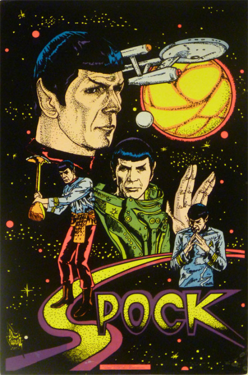 brain-food:   Spock blacklight poster (1976)  Why isn't this hanging on my wall?  blacklight is illogical