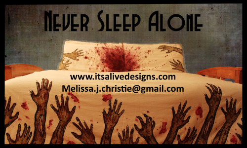 Never sleep aloneDesigned by -Melissa Christie Want to buy them?!** www.itsalivedesigns.com **www.facebook.com/MElissa.Christie.Designs?fref=ts**I want to thank all of you who liked my bedding, that is seriously awesome.I am shipping outside of Canada now, please check out my website for pricing.  Again, thank you so much!