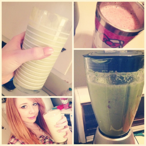 I have been replacing one meal a day with a smoothie! They're all super healthy, low calorie, low sugar, and loaded with fruits, veggies, and flax seed! :3 I'm so proud of my recipes~!