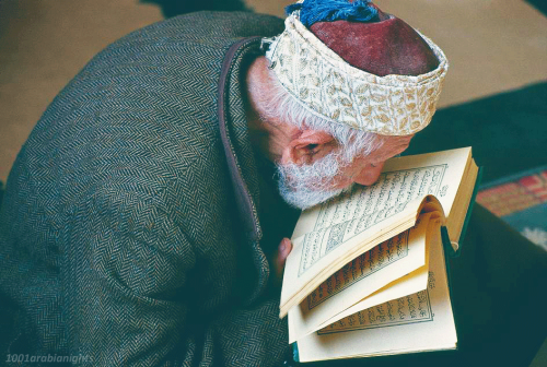 An old man reads from the Quran in the Al-Aqsa Mosque , Jerusalem - Palestine