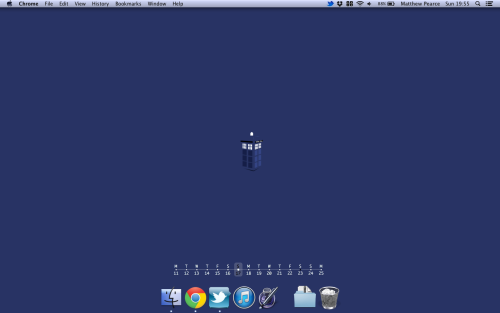 New clean desktop. Dock: Mirage Dock. Calendar: Dateline. Wallpaper: Google