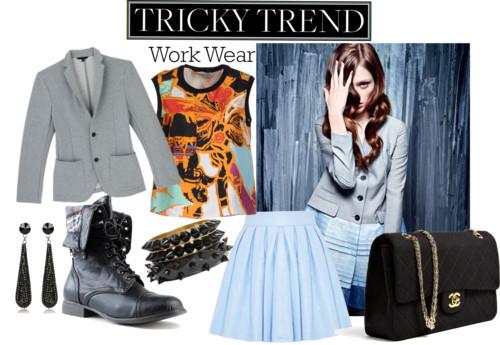Tricky Trends: Work Wear by hollywoodfashionista featuring balenciagaBalenciaga  / Alice + Olivia  / Foldover boots / Chanel  bag / HALABY  / Pendant jewelry
