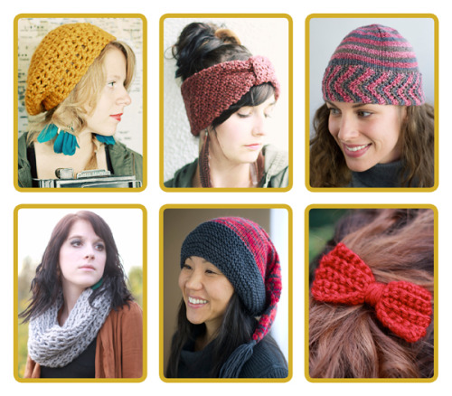 "Happy Yarn-Love New Year! Whip up these lovely (free) knit & crochet projects from ""Crochet Boutique"" by Rachael Oglesby and ""One + One: Hats"" by Iris Schreier."