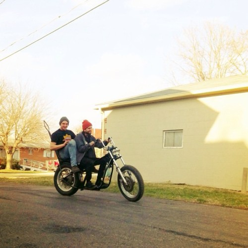 illfitlife:  Nice day cruising with @thegentswrench . Taking @treysayer_ whip for a spin. #sofast #chopper #bobber