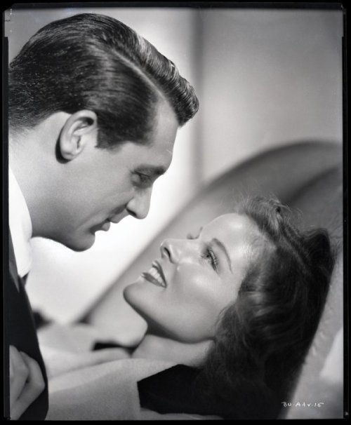 Ernest A. Bachrach (American, 1899 - 1990). Cary Grant and Katharine Hepburn, 1938. Camera negative on nitrate film, from the set of Bringing Up Baby.