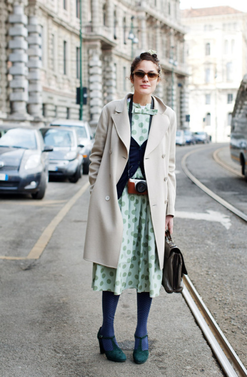 modcloth:  Pretty pastel polka dots captured by The Sartorialist.