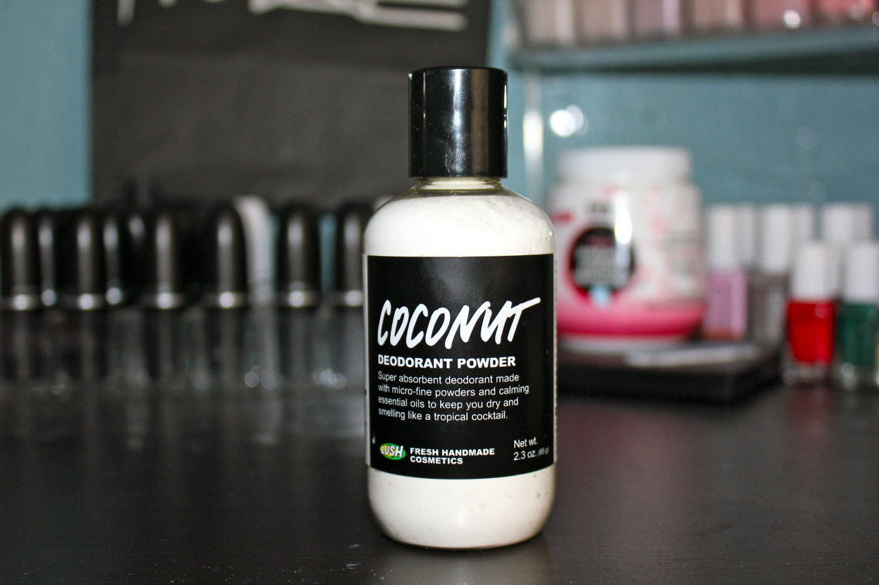 Coconut Deodorant Powder: $7.95 This product is pretty self explanatory right? But I do have to say it's a favorite of mine. I actually don't use this product alone…I first use my dove deodorant to help the powder stick to my underarms. I find that if I don't use this powder, I don't stay as dry and the smell of the coconut definitely helps with deodorizing too! The dry feeling stays all day and I can tell the difference when I don't use this product. The scent is really mild, not too strong in my opinion!  My only con is that it's kinda messy cause you literally just put some in your hands and then pat it on the underarm area….so you're bound to have some fall out.  I haven't really tried this product on its own…but it's a great extra little step to ensure dry and smell good arm pits (: LUSH has 3 powder deodorants, and of the 3 Coconut is the lightest (in scent and in last power).  The other powder deodorants are 'The Greeench' and 'The Guv'ner'.