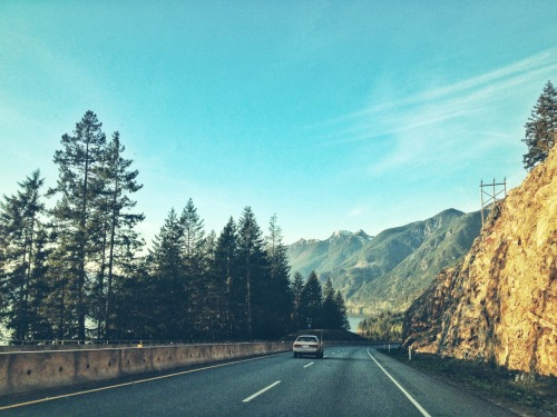 Golden hour on the road to Whistler.