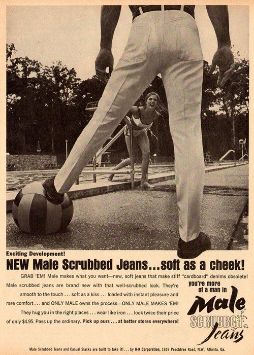 Exciting development…  (Male scrubbed jeans ad, Cavalier Sept. 1965)